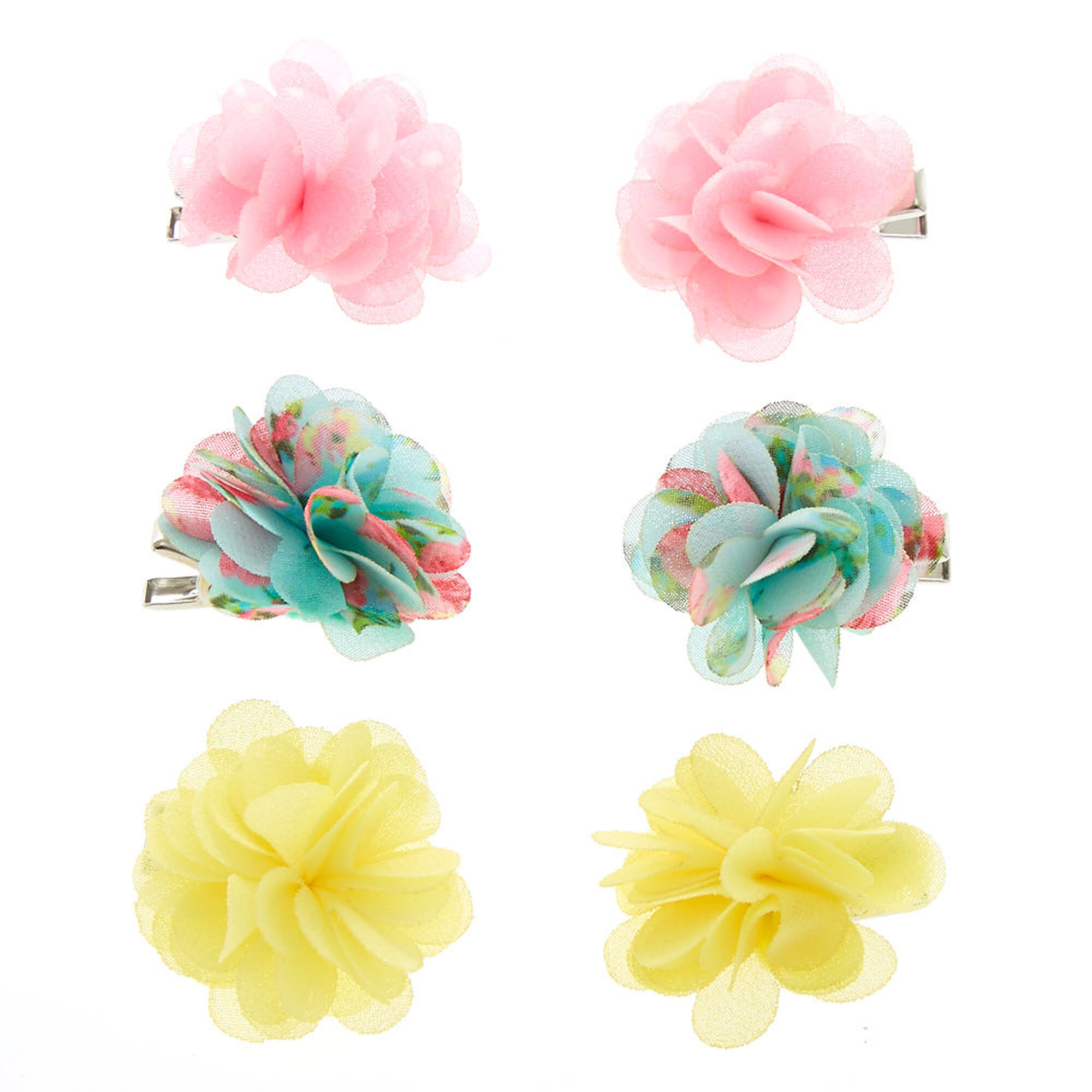 Kids 6 Pack Garden Party Chiffon Flower Hair Clips Claires Us