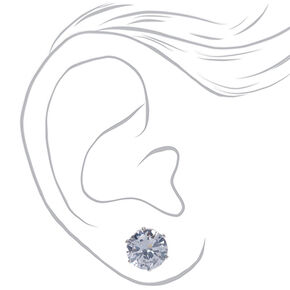 Silver Cubic Zirconia 10MM Round Stud Earrings,