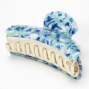 Medium Marble Hair Claw - Blue,