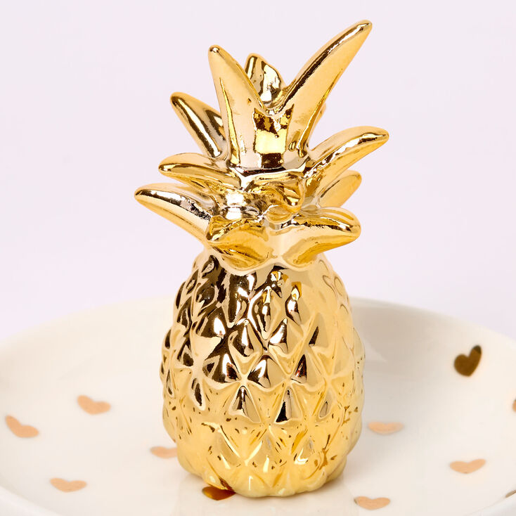 Pineapple Hearts Jewelry Holder Tray - White,