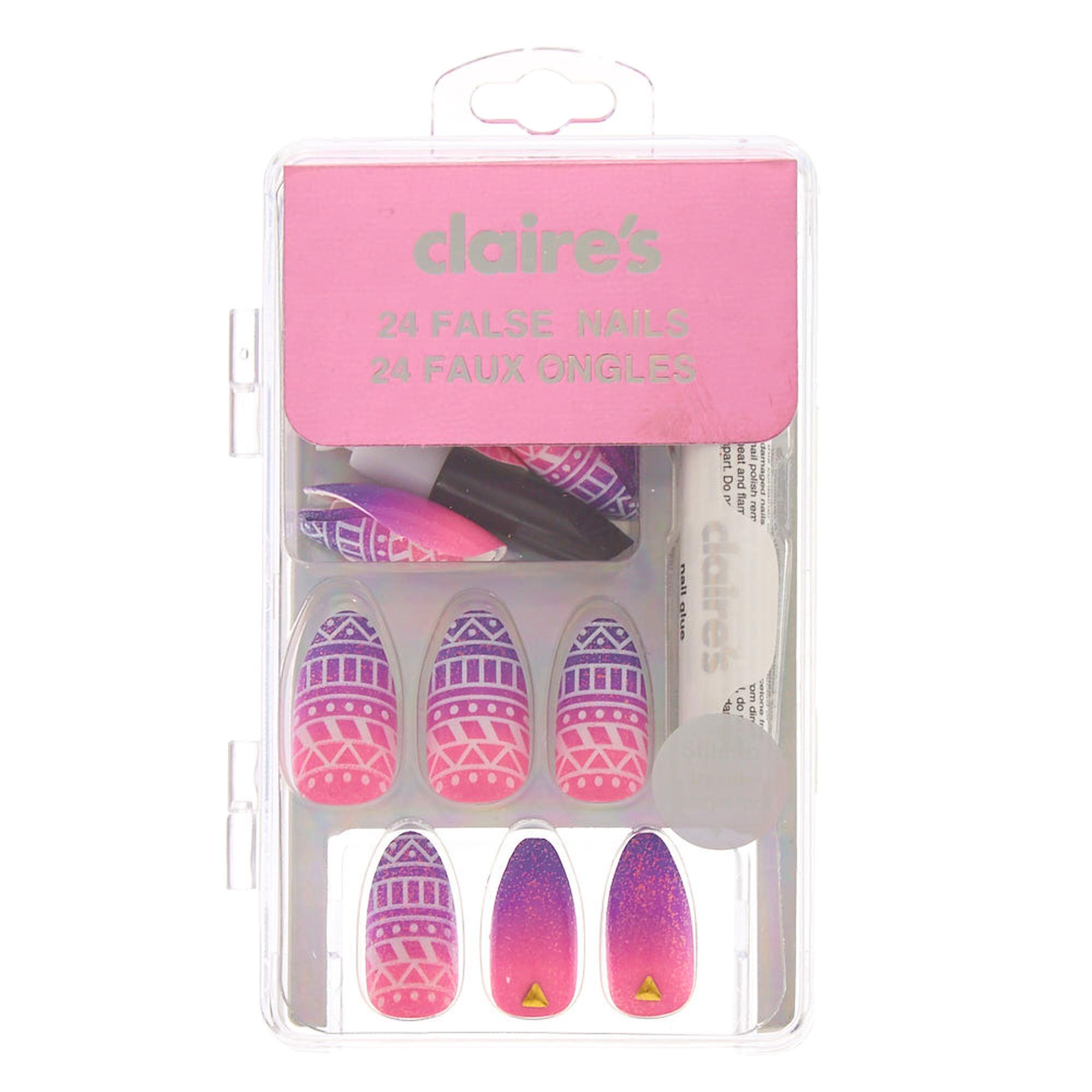 Pink and Purple Aztec Stiletto False Nails | Claire\'s US