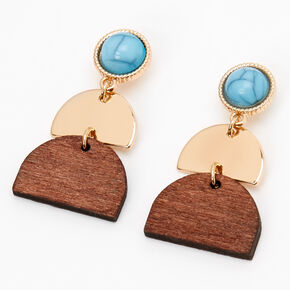 "Gold 1.5"" Geometric Wooden Drop Earrings - Turquoise,"