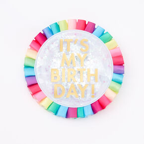 It's My Birthday Confetti Rainbow Button,