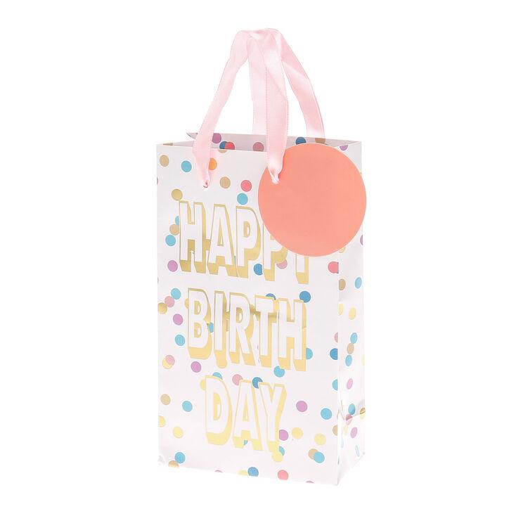 Pastel Polka Dot Happy Birthday Small Gift Bag