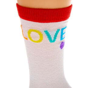 Rainbow Love Crew Socks - White,