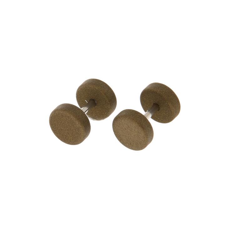 Faux écarteurs d'oreille métalliques couleur vert olive,