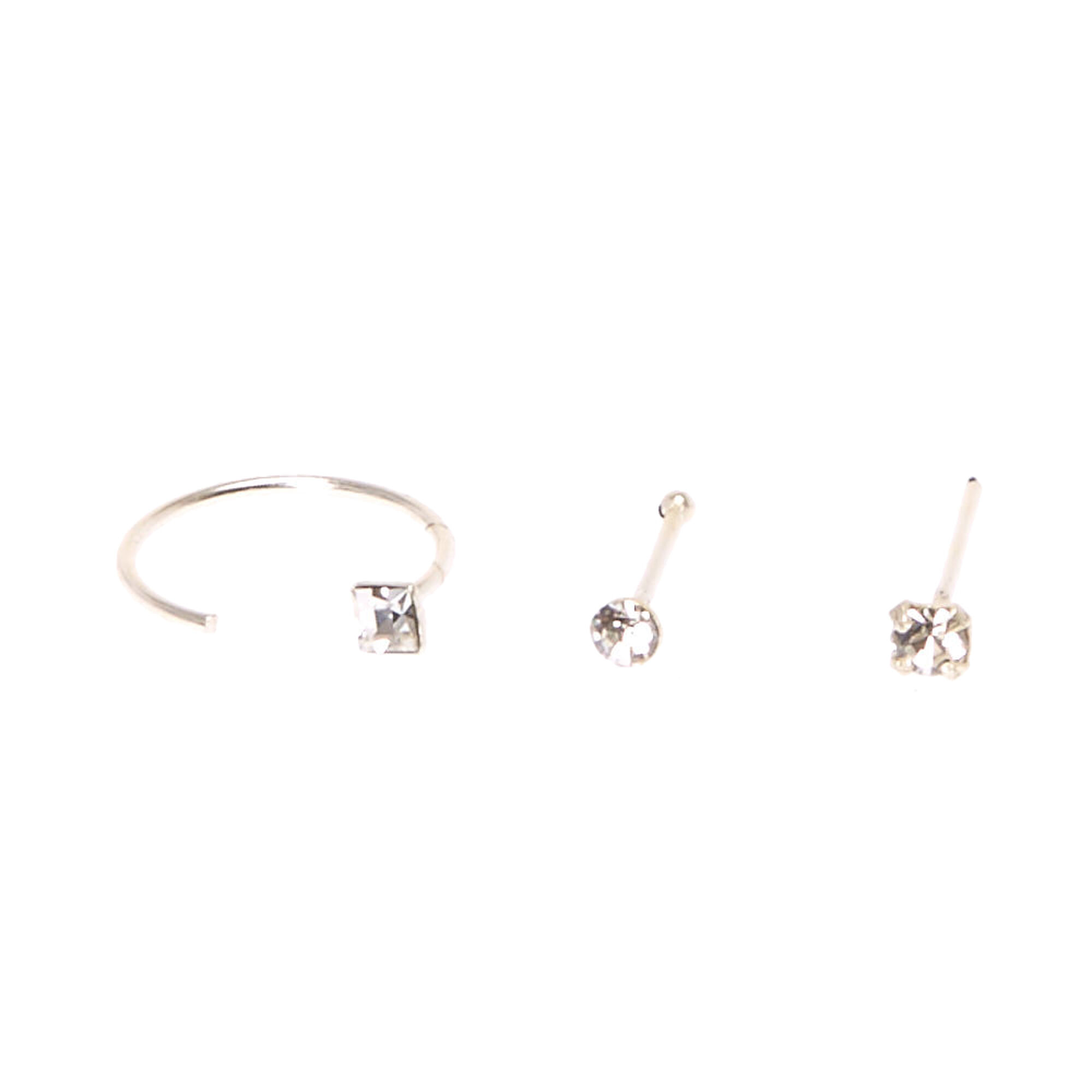 8c0dd8e5dab79 Sterling Silver Studs & Square Half Hoop Nose Rings