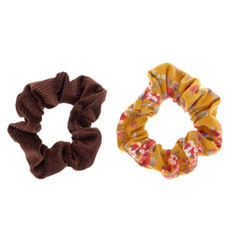 Small Bronzed Floral Velvet Hair Scrunchies - Mustard, 2 Pack,
