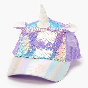 Casquette de baseball licorne à sequins - Violet,