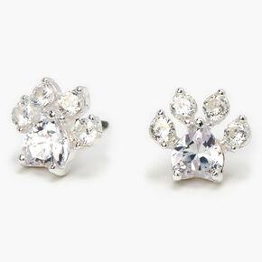 Silver Cubic Zirconia Paw Print Stud Earrings - 10MM,