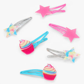 Claire's Club Rainbow Tie-Dye Snap Hair Clips - 6 Pack,