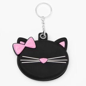 Cat Compact Mirror Keychain - Black,