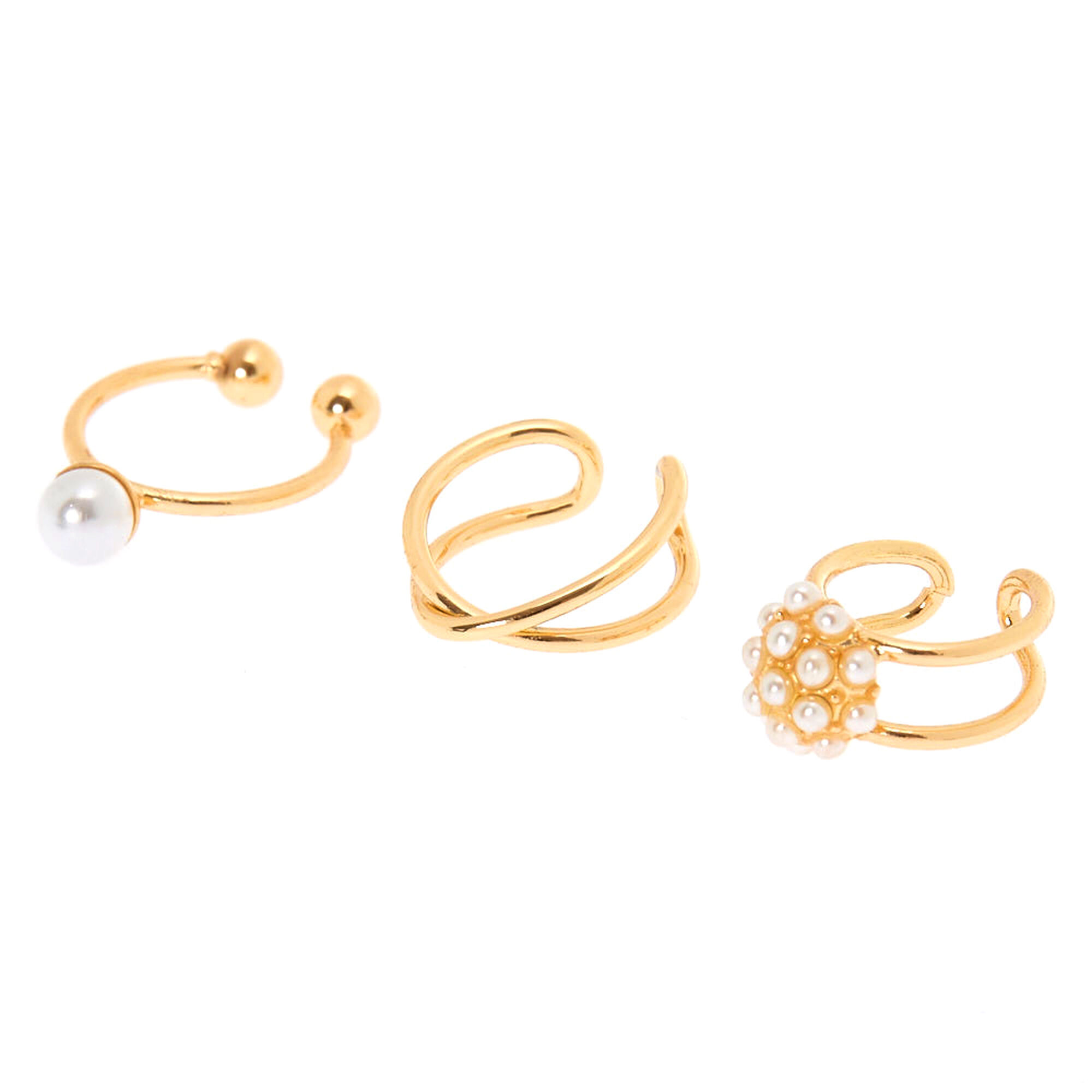 Gold Pearl Band Ear Cuffs 3 Pack | Claire\'s