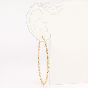Gold 80MM Twisted Textured Hoop Earrings,