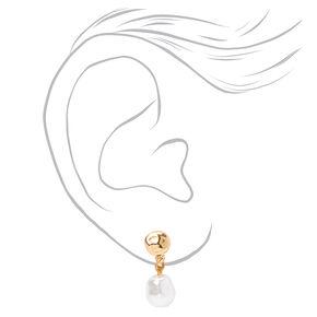 Clous d'oreilles à clip en perles d'imitation variées couleur dorée - Lot de 3,