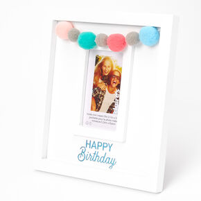 Birthday Pom Pom Instax Photo Frame - White,
