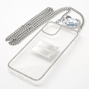 Silver Rhinestone Phone Case With Chain - Fits iPhone11,