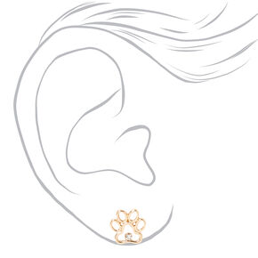 Gold Crystal Paw Print Stud Earrings,