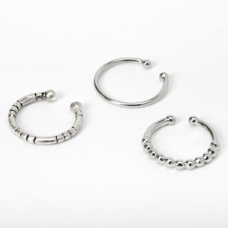 Silver Textured Faux Nose Rings 3 Pack Claire S