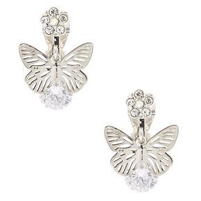 Pendantes à clip papillon en strass 1,3cm couleur argenté,