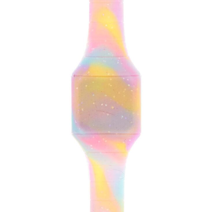Glitter Pastel Tie Dye LED Watch,
