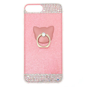 Pink Glitter Cat Ring Stand Phone Case - Fits iPhone 5/5S,