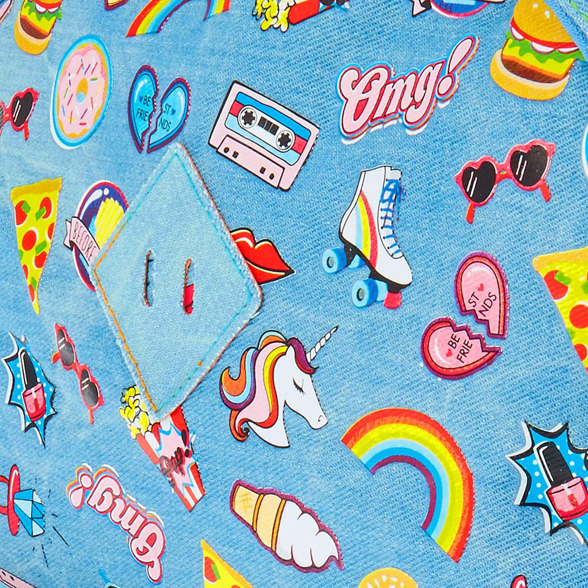 Denim Rainbow Print Backpack Claires
