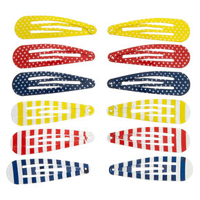 Summer Stripes & Polka Dots Snap Hair Clips - 12 Pack,