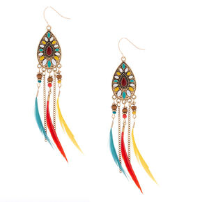 "Gold 4"" Beaded Feather Teardrop Drop Earrings,"