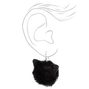 """Silver 2"""" Black Cat Pom Drop Earrings,"""