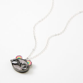 Silver Rainbow Panda Locket Necklace,