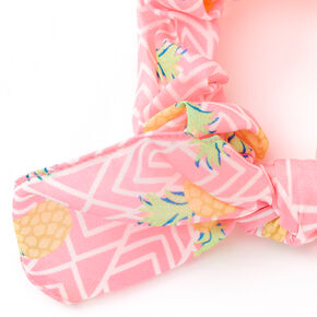 Small Neon Pineapple Knotted Bow Hair Scrunchie - Pink,