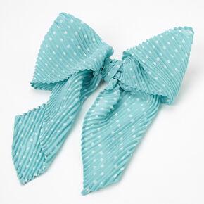 Polka Dot Pleated Hair Bow Clip - Mint,