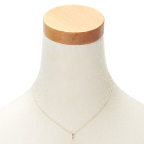 Rose Gold Embellished Initial Pendant Necklace - F,