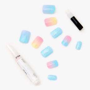 Faux ongles carrés dégradé de bleus et pailletés - Lot de 24,