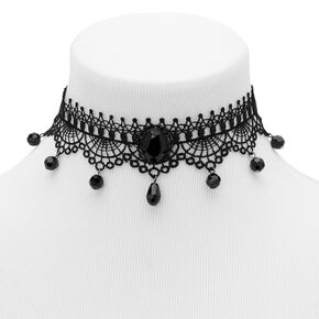Beaded Lace Choker Necklace - Black,