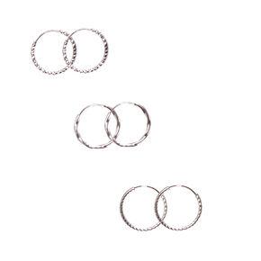 Silver 15MM Textured Hoop Earrings - 3 Pack,