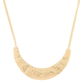 Hammered Gold Bib Statement Necklace,