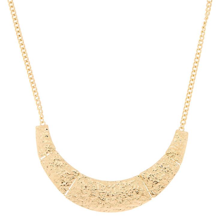 Hammered Gold Bib Statement Necklace,