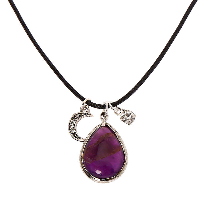 Stone Teardrop Pendant Necklace - Purple,