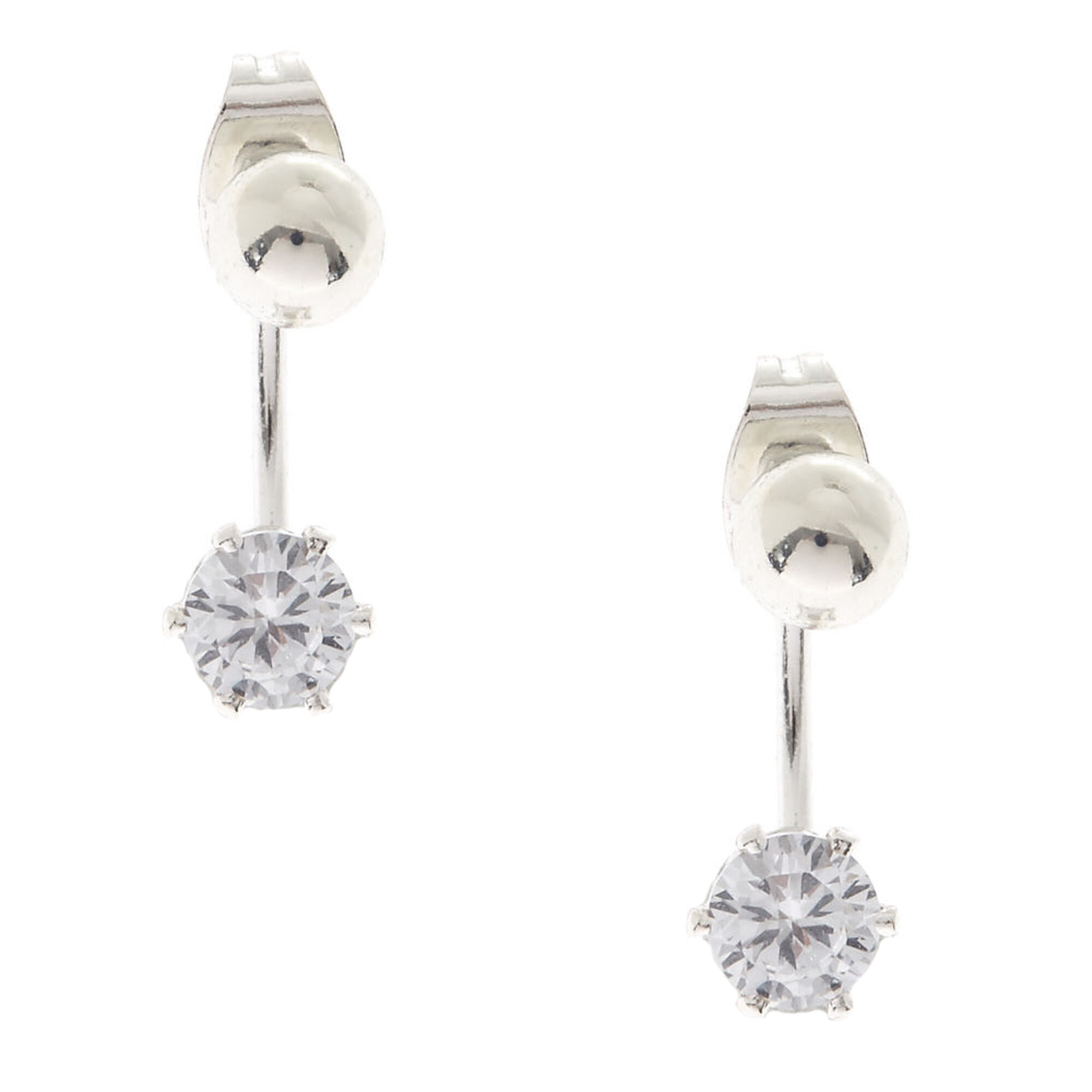 e83acd30c Silver Ball Stud with Round Cubic Zirconia Front & Back Earrings, ...