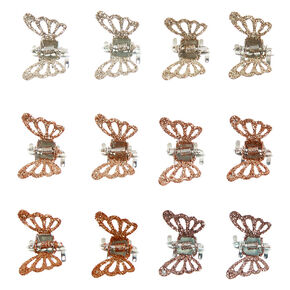 Glitter Butterfly Mini Hair Claws - Gold, 12 Pack,