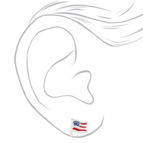 Sterling Silver Stars And Stripes Stud Earrings - 9 Pack,