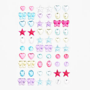 Claire's Club Neon Star Stick On Earrings - 30 Pack,