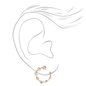 Gold Embellished Open Circle Stud Earrings,