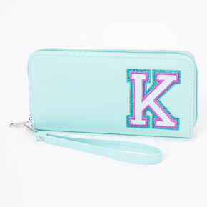 Mint Varsity Initial Wristlet - K,