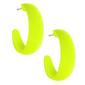 25MM Rubber Hoop Earrings - Neon Yellow,