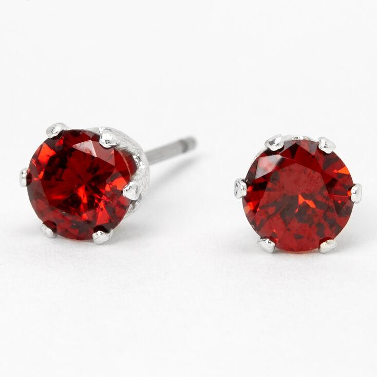 Silver Cubic Zirconia Round Stud Earrings - Ruby, 5MM,