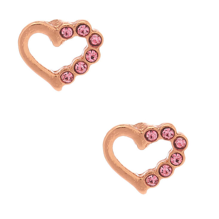 18kt Rose Gold Plated Studded Heart Stud Earrings,