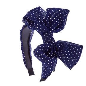 Navy Polka Dot Knotted Bow Headband,